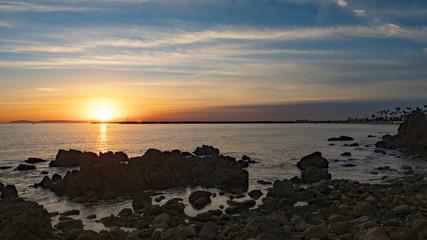 4k Sunset Sunny Seascape Gorgeous Nature Photography Blue Clouds Sky Clear Sundown Dusk Rocks Beach Island Inspire Relax Backgrounds Breathtaking