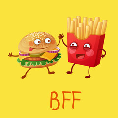 Funny fastfood characters Best Friends Forever. Cheerful food emoji humburger and french fries