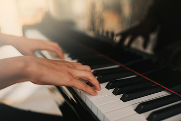 Piano music pianist hands playing. Musical instrument grand piano details with performer hand on white background