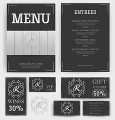 Luxury Menu Restaurant Template. Branding. White Wood on black background. Monogram with the letter R. Business card, flyer, vip card and gift voucher. Vector design.