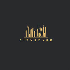 city scape logo in black background