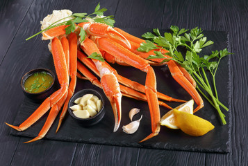 close-up of fresh cooked Crab legs