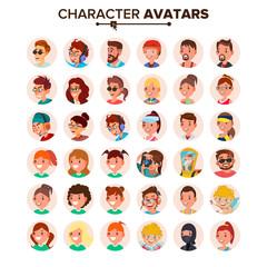 People Avatars Set Vector. Default Character Avatar Placeholder. Face, Emotions. Flat, Cartoon, Comic Art Flat Isolated Illustration