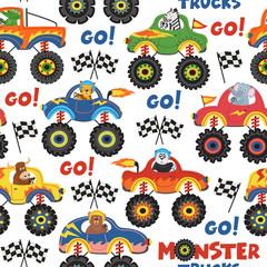 seamless pattern monster trucks with animals on white background - vector illustration, eps