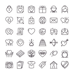 Valentines day icons set. Set of romantic Valentines day symbol. Design elements for Valentine's day. Heart shapes. Set of icon vectors or love symbols in line style for weddings and romantic dating