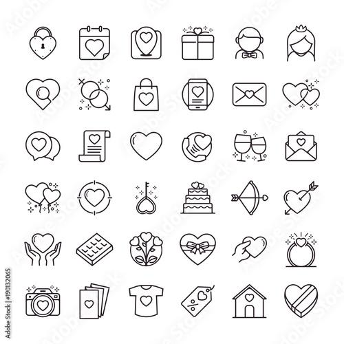 Valentines Day Icons Set Set Of Romantic Valentines Day Symbol