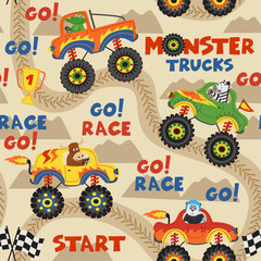 seamless pattern monster trucks with animals on race track  - vector illustration, eps