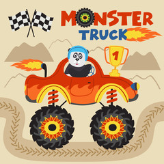 panda champion is riding monster truck  - vector illustration, eps