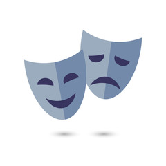 Theater masks, vector icon on white background.