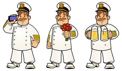 Cartoon sailors. A set of images. The captain calls on his mobile phone, stands in a bouquet of flowers, carries beer in mugs.