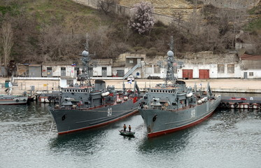 Sea minesweepers in the Southern Bay of Sevastopol.