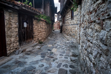 Authentic rock streets and houses in the heart of Nesebar old town. Bulgaria