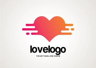 Love Tech Logo Template Design Vector, Design Concept, Creative Symbol