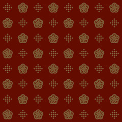 Chinese New Year background, regular seamless pattern. Clip art gold flowers and  mini dots. Stylized ornament.