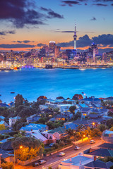 Auckland. Cityscape image of Auckland skyline, New Zealand during sunset with the Davenport in the foreground.