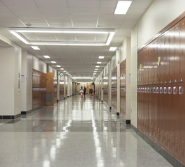 College hallway with lockers