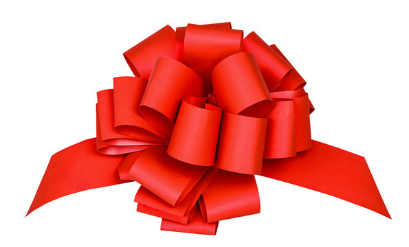 Isolated ribbon. Big red ribbon with bow with tails isolated on white background with clipping path