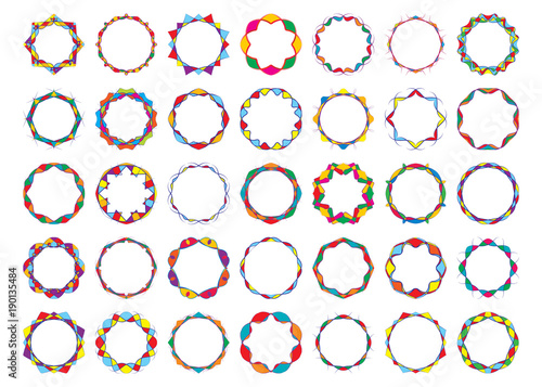Abstract Colored Twisted Round Frames Set Bright Festival Design