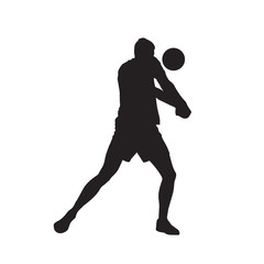 Volleyball player, passing ball, isolated vector silhouette