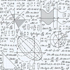 Educational mathematical vector seamless pattern with handwritten formulas, figures and equations