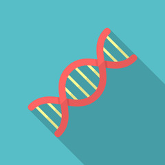 DNA icon with long shadow. Flat design style. DNA simple silhouette. Modern, minimalist icon in stylish colors. Web site page and mobile app design vector element.