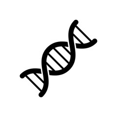 DNA icon. Black, minimalist icon isolated on white background. DNA simple silhouette. Web site page and mobile app design vector element.