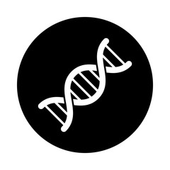 DNA circle icon. Black, round, minimalist icon isolated on white background. DNA simple silhouette. Web site page and mobile app design vector element.