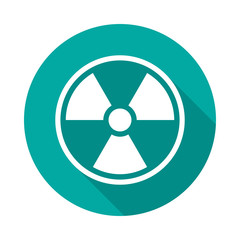 Radiation symbol circle icon with long shadow. Flat design style. Radiation simple silhouette. Modern, minimalist, round icon in stylish colors. Web site page and mobile app design vector element.