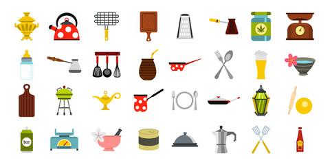 Dishes icon set, flat style