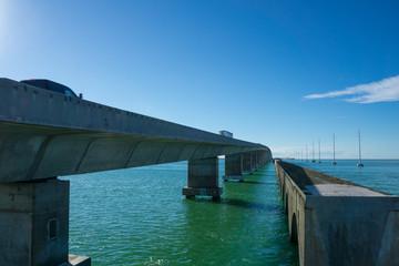 USA, Florida, Giant concrete bridge through the ocean called overseas highway