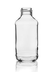 empty glass bottle for medicines or chemicals isolated on white background with reflection