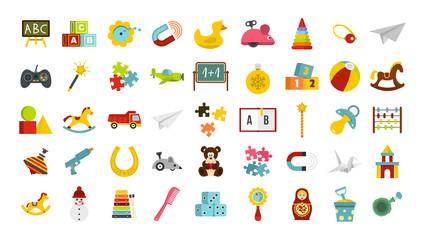 Kid toys icon set, flat style