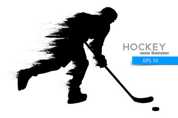silhouette of a hockey player. Vector illustration