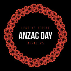 Anzac Day, national day of remembrance in Australia, card template with poppies round frame background.