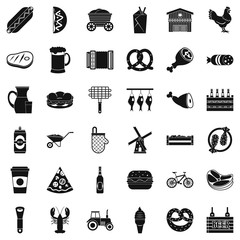 Delicious meal icons set, simple style