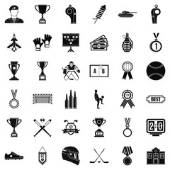 Extra prize icons set, simple style
