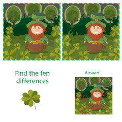 St. Patricks Day - find ten differences visual puzzle