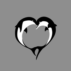 Vector silhouette of two black and white dolphin couple in love with shape heart. Greeting card illustration