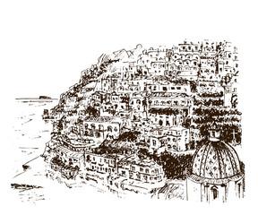 Positano, Amalfi Coast, Campania, Sorrento, Italy. Beautiful hand drawn vector sketch illustration