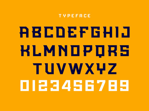 Sport font. Vector alphabet with latin letters and numbers