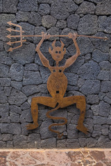 Lucky Devil Symbol of Timanfaya National Park in Lanzarote, Spain.