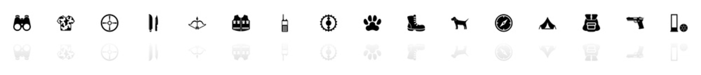 Hunting icons - Black horizontal Illustration symbol on White Background with a mirror Shadow reflection. Flat Vector Icon.