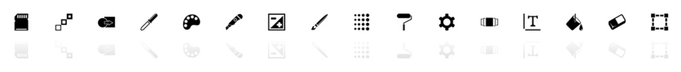 Image icons - Black horizontal Illustration symbol on White Background with a mirror Shadow reflection. Flat Vector Icon.