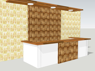 View of reception desk is standing in an office lobby with a interior wall pattern with decorative tree leaves. 3d illustration