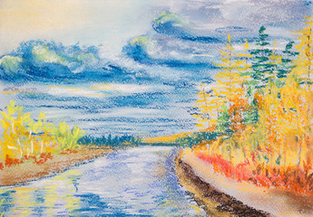 Beautiful autumn landscape with river. Cloudy day. Yellow trees reflected in the river