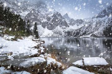 Snowy winter at Eye of the Sea lake in Tatra mountains, Poland