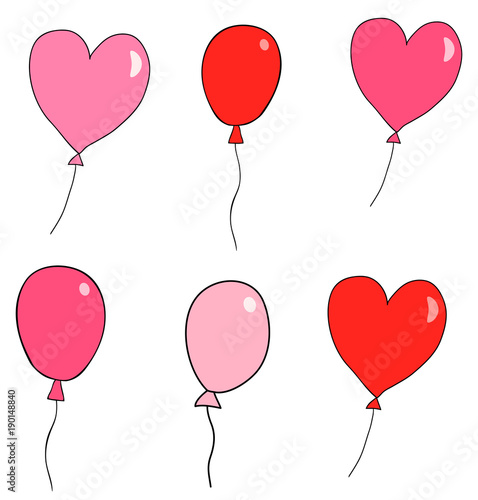 Cute Hand Drawn Vector Balloons For Greeting Cards And For