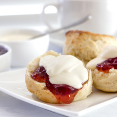 Scones with Strawberry Jam and Cream Devonshire Tea