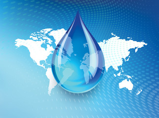 Abstract concept indicating a world wide fresh water crisis and shortage with a droplet of water suspended over a global map with swirling dots background.