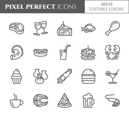 Meals theme pixel perfect thin line icons. Set of elements of pie, steak, fish, tea, wine, shrimp, pizza and other restaurant food related pictograms. Vector illustration. 48x48. Editable stroke